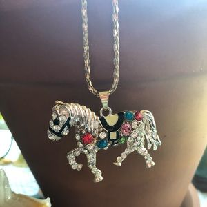 Betsey Johnson jewel horse pendant chain necklace
